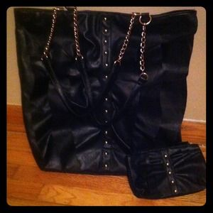 Handbags - Black ruffle tote & wallet w/gold accents.
