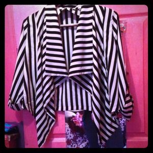 Jackets & Blazers - Black and white striped cardigan brand new