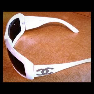 VINTAGE Square White Sunglasses Silver CC Detail!!