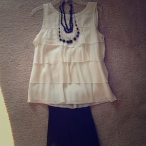 J. Crew Cream Ruffle-Tiered Top