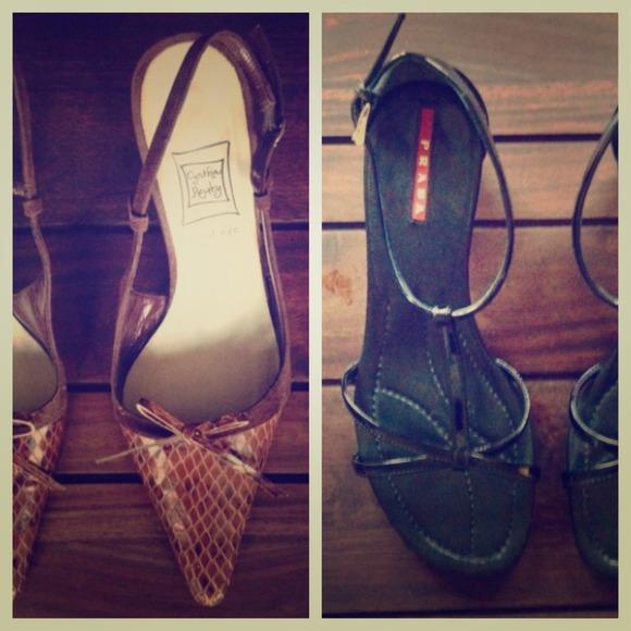 🔴SOLD🔴 Prada Patent Sandals & Brown Slingbacks