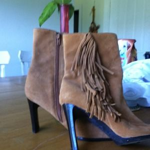 Geniune leather fringe short boots