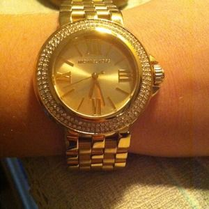 "Michael Kors ""Lucy Gold Crystal Bezal"" watch"