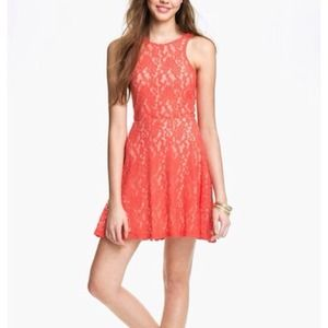 Coral Lace Skater Dress