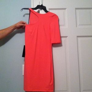 Bebe coral mini dress with sleeve cut out