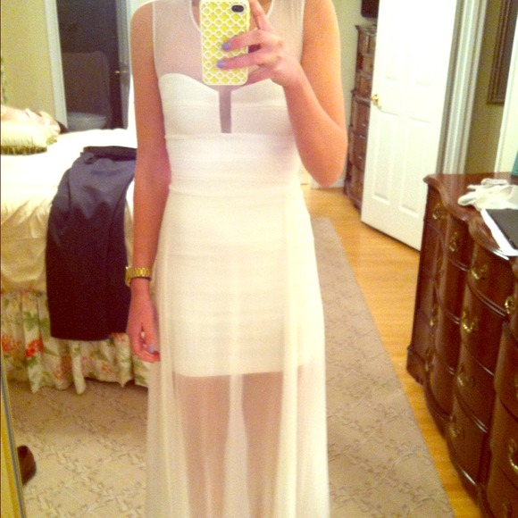 Bcbg Dresses White Long Bcbg Alai Bondage Dress Poshmark
