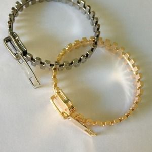Zipper bangle bracelet gold silver