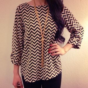 Everly Tops - Chevron Print Blouse