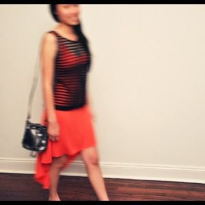 Dresses & Skirts - Coral red jersey high low dress