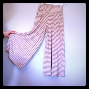 Tan striped wide legged pants with front pockets