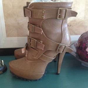 Brown combat heeled boots