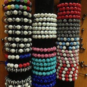 Jewelry - 11 clay crystal bead shamballa bracelets