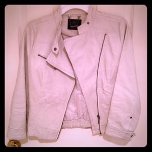 Zara faux leather white jacket