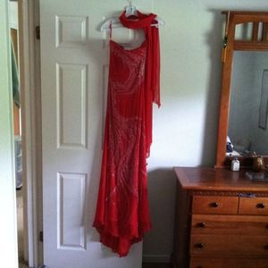 Dresses & Skirts - Red hand beaded gown