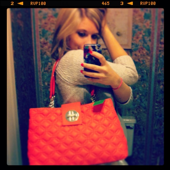79% off kate spade Handbags - REDUCED!Adorable coral quilted Kate ... : kate spade red quilted bag - Adamdwight.com