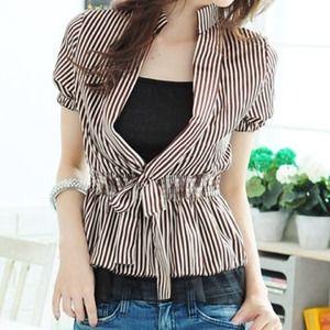 🔴SOLD🔴 Brown Striped Satin High Collar