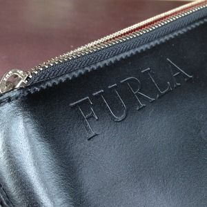 Furla Bags - ⏳Furla Black Leather Tote Bag Red Accent Panel