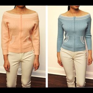 Tops - Pink and blue boatneck zip up