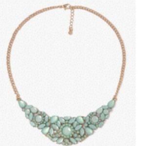 Rhinestone floral bib necklace