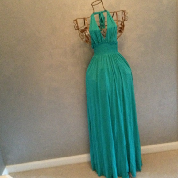 Bcbg long teal dress