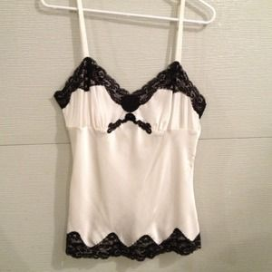 411db07c71a7f7 Women s Black And White Lace Trim Silky Tank Top on Poshmark