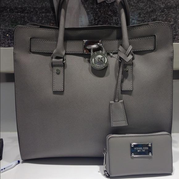 71488a48c58b michael kors hamilton wallet pearl grey 2 tone handbag - Marwood ...
