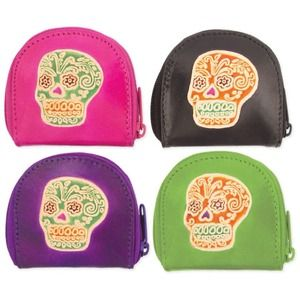 Sugar skull coin purse wallet day of the dead