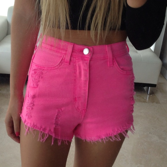 Neon pink high waisted denim cutoff shorts Small from Simonett's ...