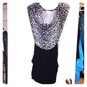 REDUCED Grey & Black Animal Print Dress 
