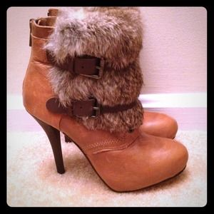 Authentic Dolce Vita Brown Leather Rabbit Fur Boot