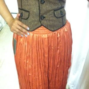 Comfy High Waist Pleated Long Orange Skirt