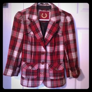 Guess Jackets & Blazers - HP Guess Jeans Red Tartan Blazer