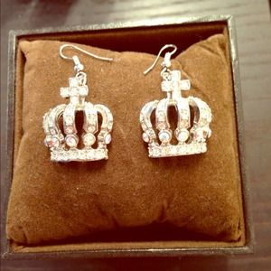Rhinestone encrusted silver crown shaped earrings