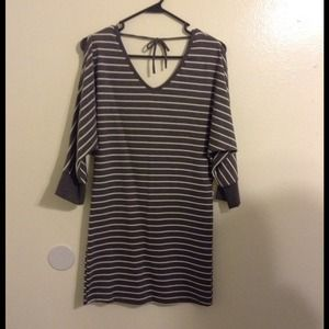 Dresses & Skirts - Gray dress with white stripes with shoulder cutout