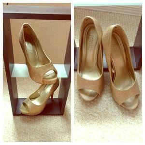 Forever 21, gold sparkle peep-toe heels.