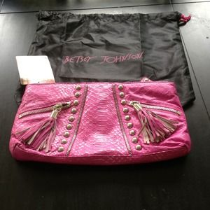 Betsey Johnson Clutches & Wallets - Betsey Johnson NWT hot pink PUNK clutch