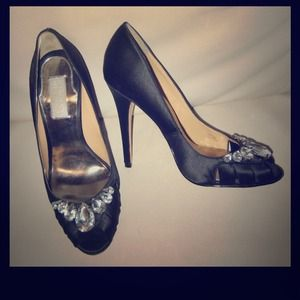 Badgley Mischka Black Satin Evening Pumps