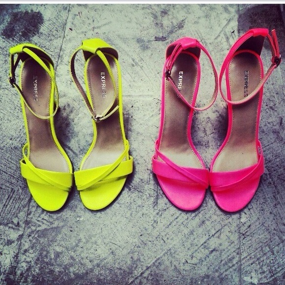 Express - Neon Yellow ankle strapped heels from Kashera's closet ...