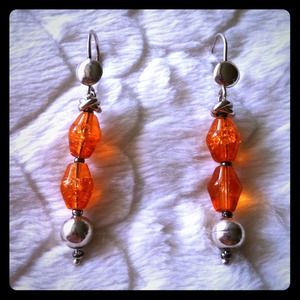 Jewelry - 925 silver earrings with orange Murano stones