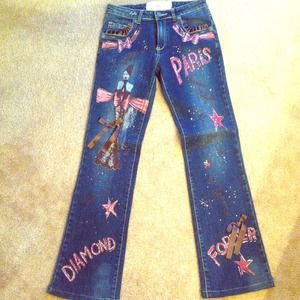 LM LULU Denim - French NWOT❗🍥🍥super cute hand painted jeans🍥🍥