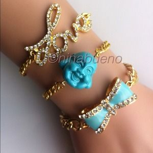 Jewelry - Bow and Chain Bracelet Lt Blue
