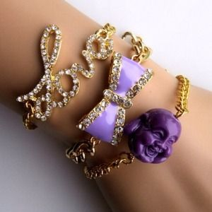 Jewelry - Love, Laugh, and Bow Bracelet Set