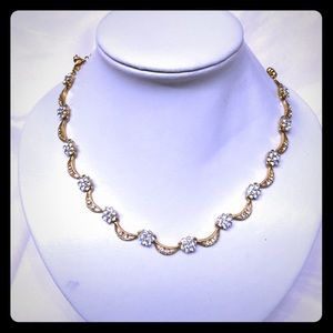 Gold tone with white flowers stones Necklace set