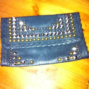 Adorable blue/gray studded clutch purse.