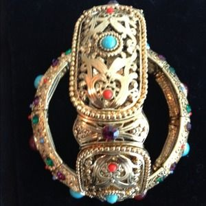 Jewelry - Multi color costume gold/jewel bracelet set of two