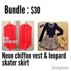 ✨Bundle✨F21 Chiffon vest and H&M leopard skirt