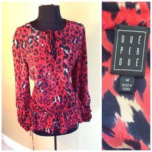 Red print silk blouse