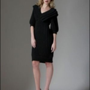 Fendi Black Wool Knit Sweater Dress 12/46 NWT