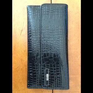 Kenneth Cole Black Croc Tri Me A River Wallet
