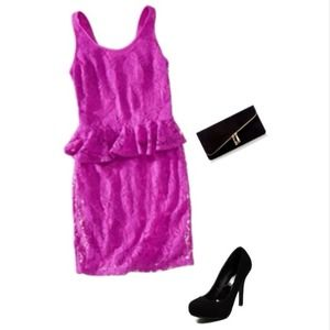 Bright hot pink/ fuchsia lace peplum dress
